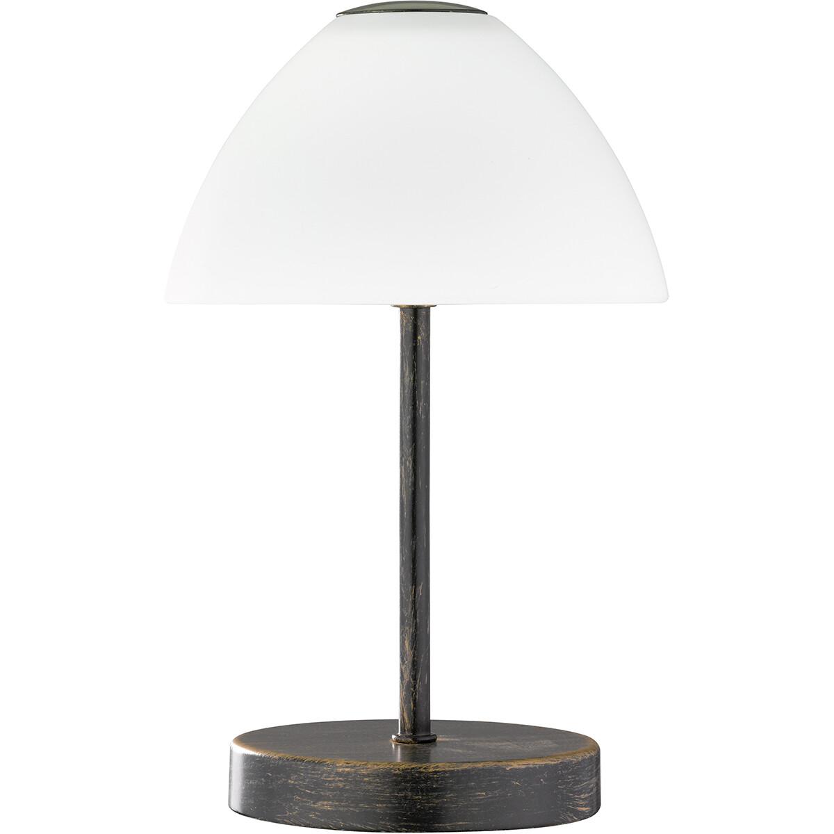 LED Tafellamp - Tafelverlichting - Trion Quno - 2W - Warm Wit 3000K - Rond - Antiek Roestkleur - Alu