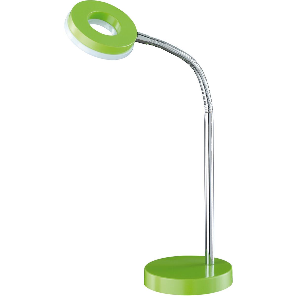 LED Tafellamp - Tafelverlichting - Trion Renny - 4W - Warm Wit 3000K - Rond - Mat Groen - Aluminium