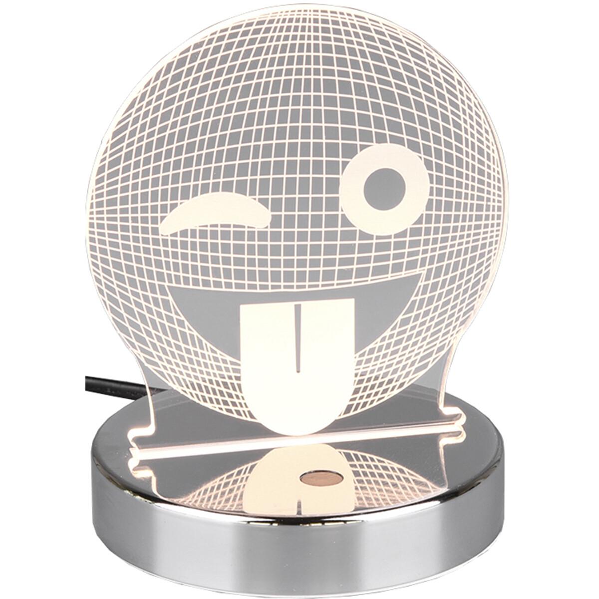 LED Tafellamp - Tafelverlichting - Trion Smilo - 3W - Warm Wit 3000K - RGBW - Rond - Mat Chroom - Aluminium