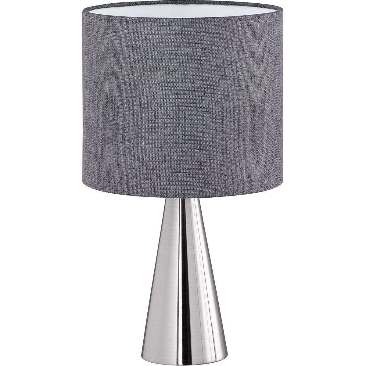 LED Tafellamp - Tafelverlichting - Trion Tinomi - E14 Fitting - Rond - Mat Nikkel - Aluminium