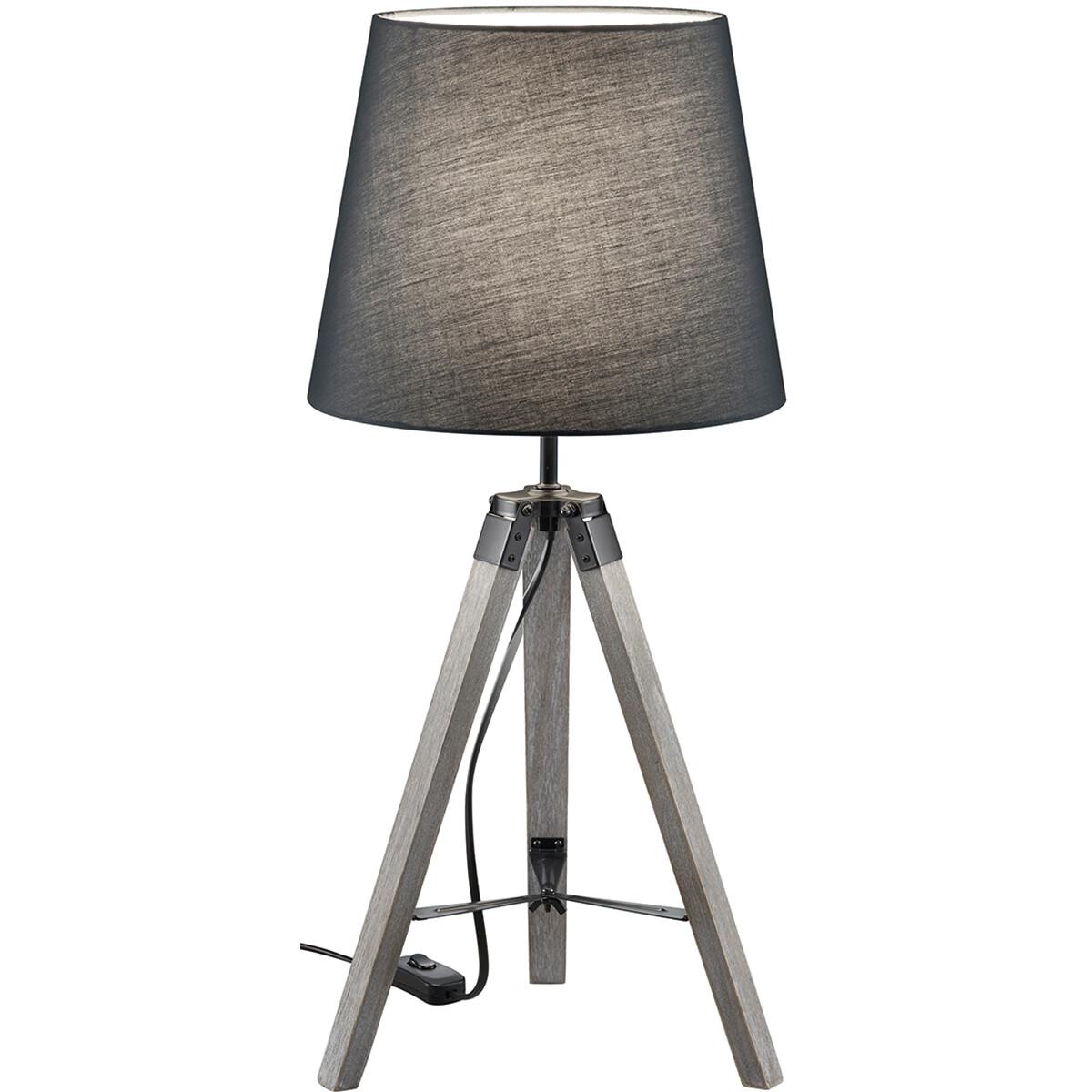 LED Tafellamp - Tafelverlichting - Trion Tripady - E27 Fitting - Rond - Mat Grijs - Hout