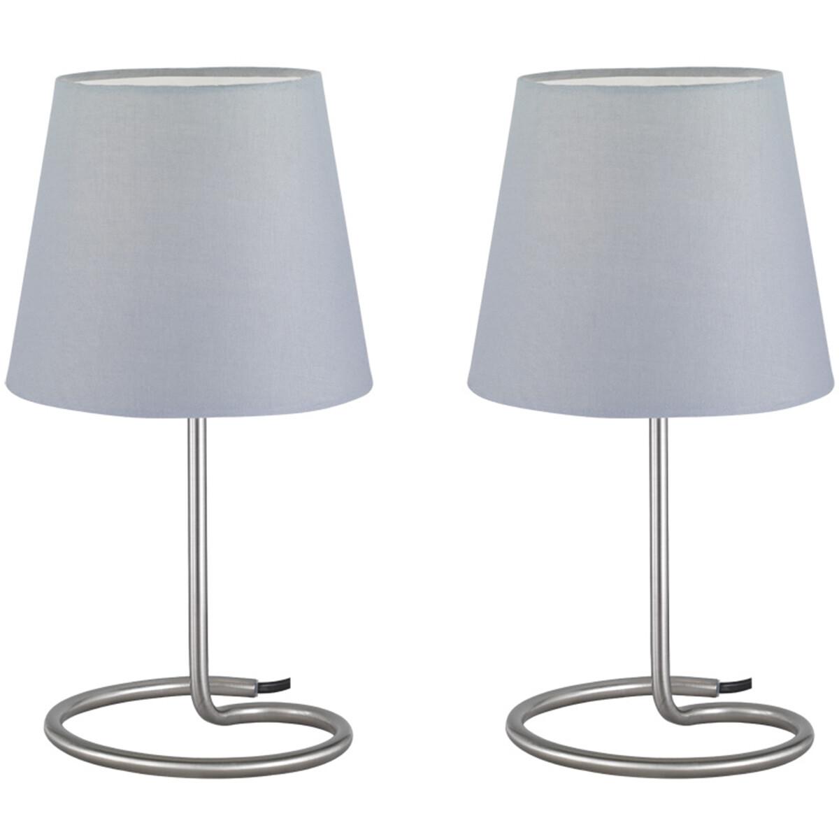 LED Tafellamp 2 Pack - Tafelverlichting - Trion Twinko - E14 Fitting - Rond - Mat Grijs - Aluminium