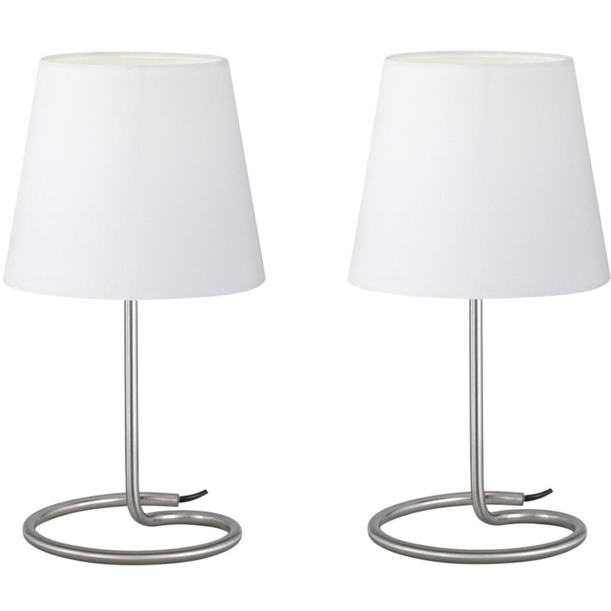 LED Tafellamp 2 Pack - Tafelverlichting - Trion Twinko - E14 Fitting - Rond - Mat Nikkel - Aluminium