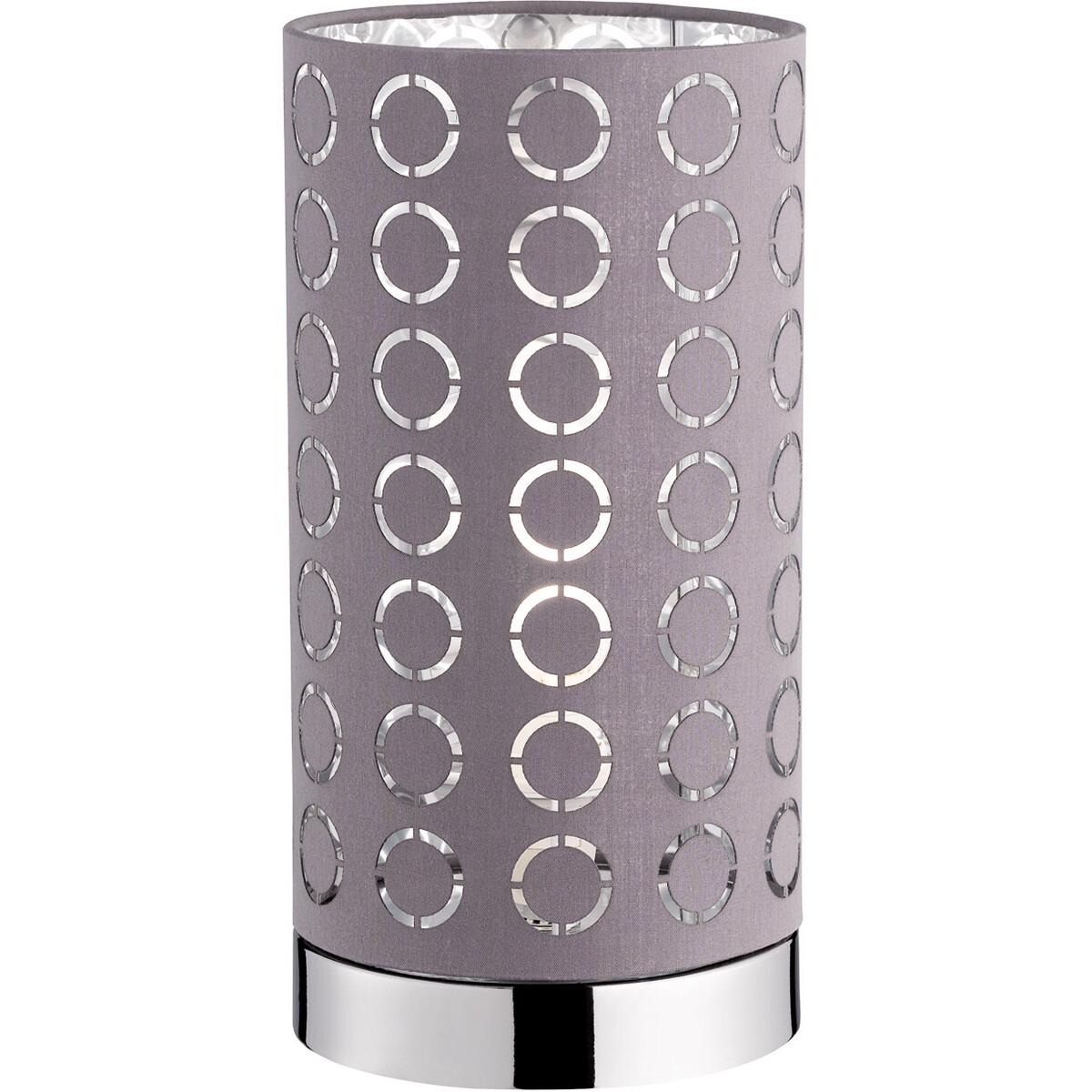 LED Tafellamp - Tafelverlichting - Trion Twiton - E14 Fitting - Rond - Mat Chroom - Aluminium