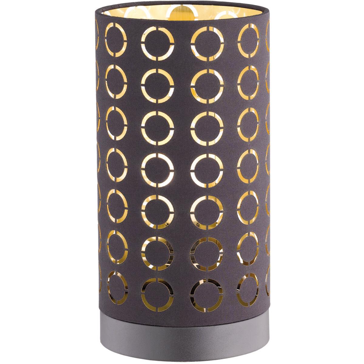 LED Tafellamp - Tafelverlichting - Trion Twiton - E14 Fitting - Rond - Mat Zwart - Aluminium