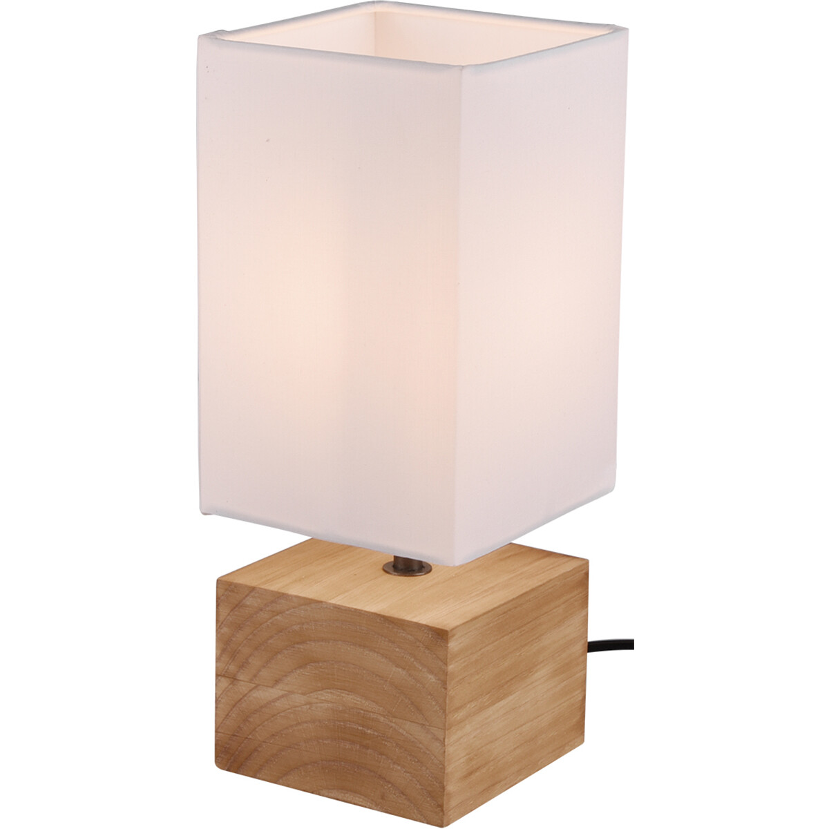 LED Tafellamp - Tafelverlichting - Trion Wooden - E14 Fitting - Vierkant - Mat Wit - Hout