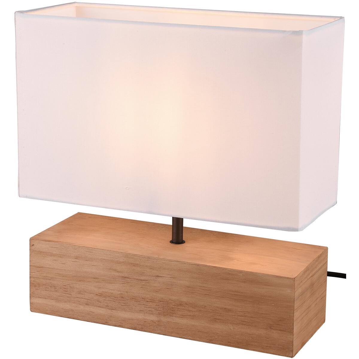 LED Tafellamp - Tafelverlichting - Trion Wooden - E27 Fitting - Rechthoek - Mat Wit - Hout