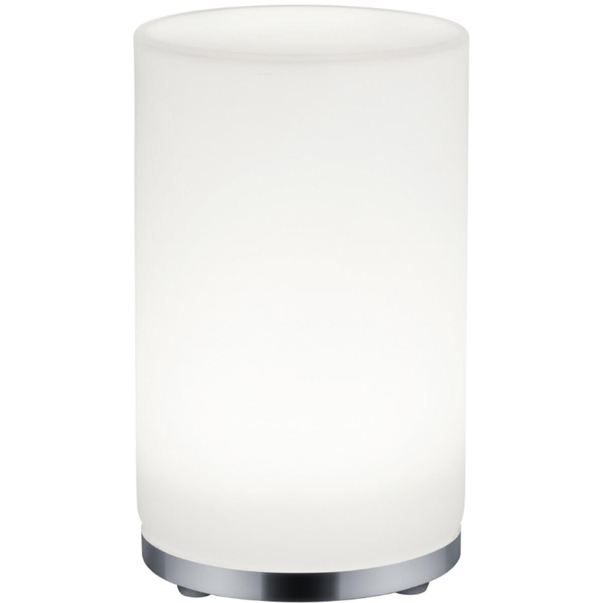 LED Tafellamp - Tafelverlichting - Trion Zakum - 5W - Warm Wit 3000K - Rond - Mat Chroom - Kunststof