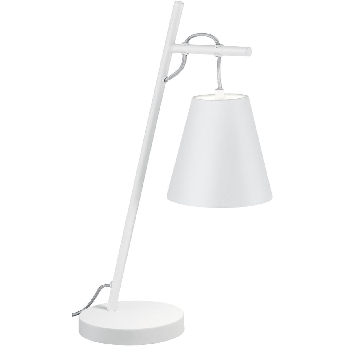 LED Tafellamp - Trion Andra - E14 Fitting - Rond - Mat Wit - Aluminium