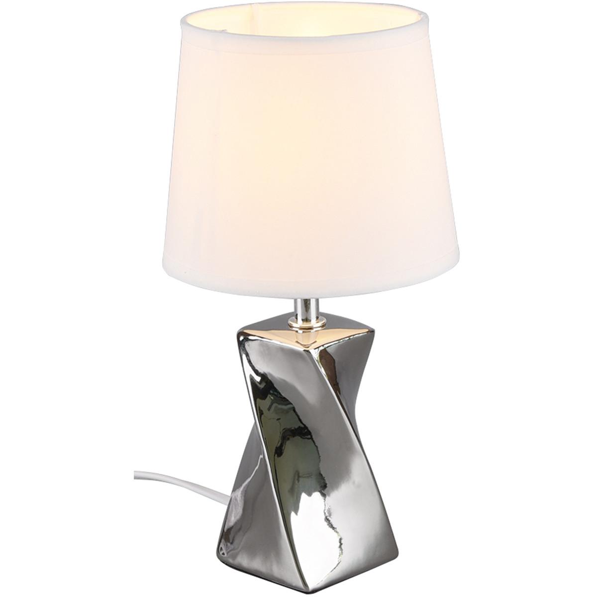 LED Tafellamp - Trion Aneby - E14 Fitting - Rond - Glans Chroom - Keramiek/Textiel