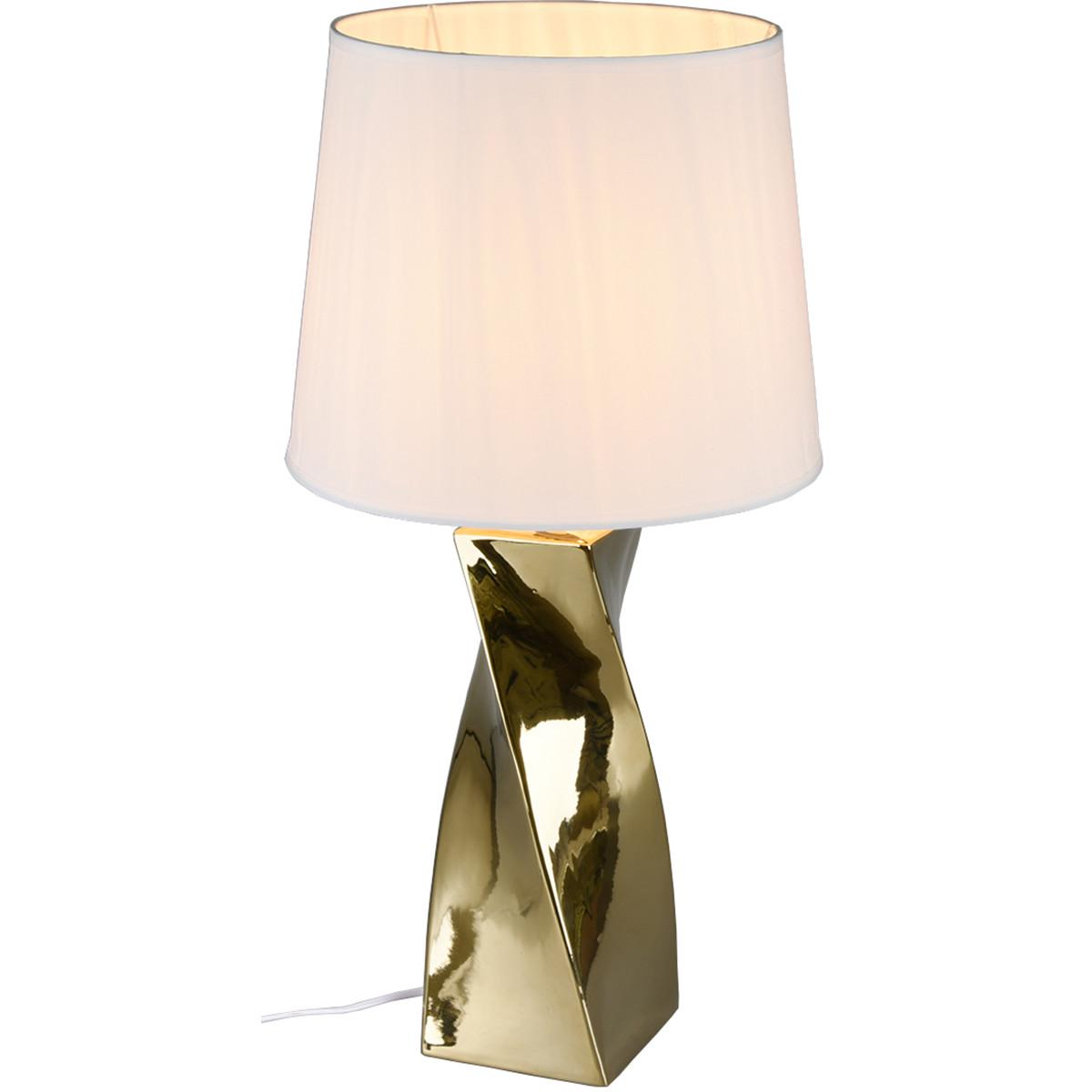 LED Tafellamp - Trion Aneby - E27 Fitting - Rond - Glans Goud - Keramiek/Textiel