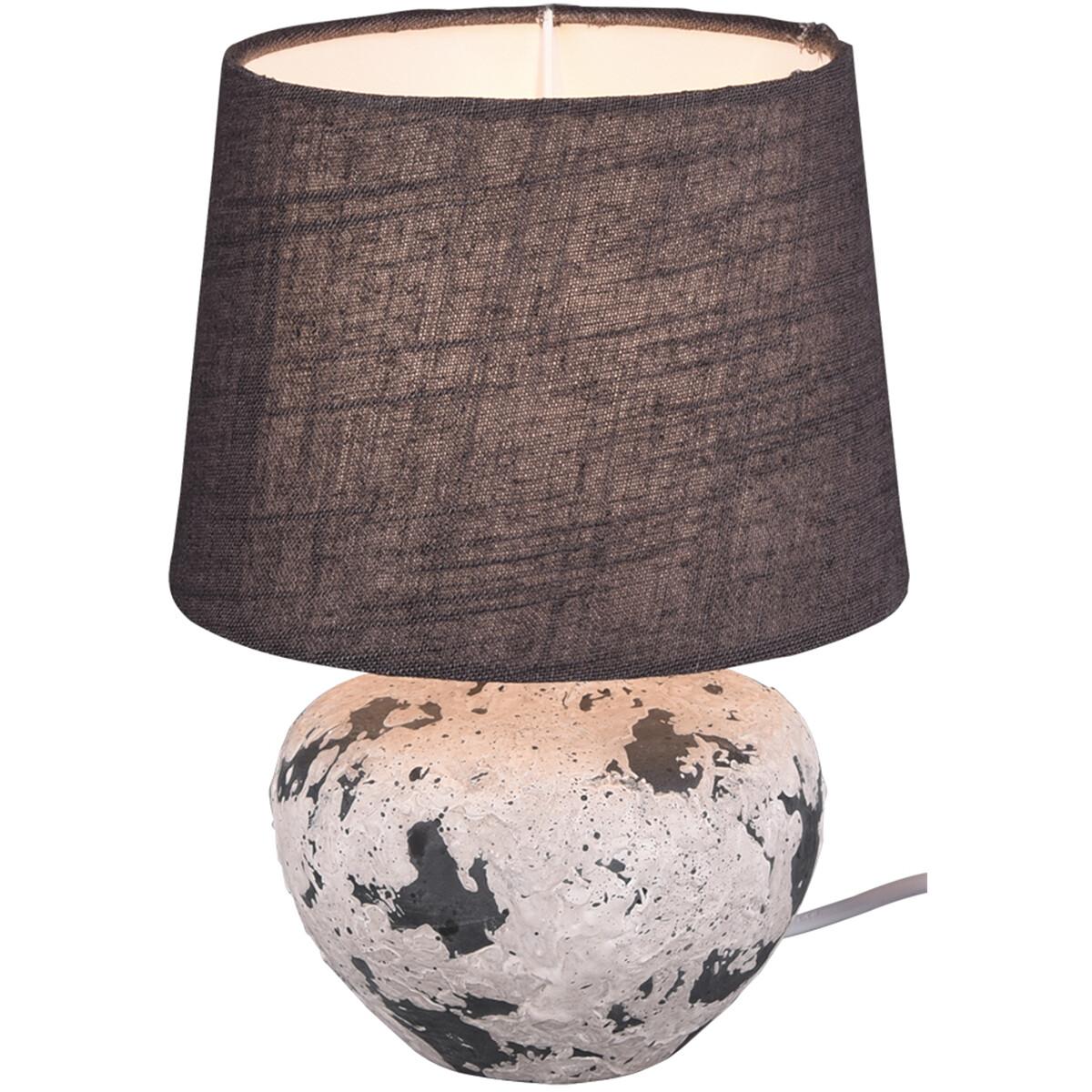 LED Tafellamp - Trion Bae - E14 Fitting - Rond - Mat Grijs - Keramiek