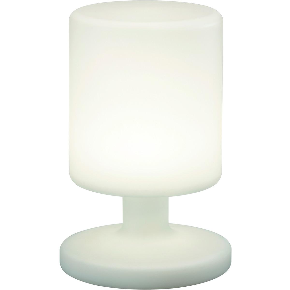 LED Tafellamp - Trion Barbary - Rond - Wit - Kunststof - Spatwaterdicht - USB Oplaadbaar