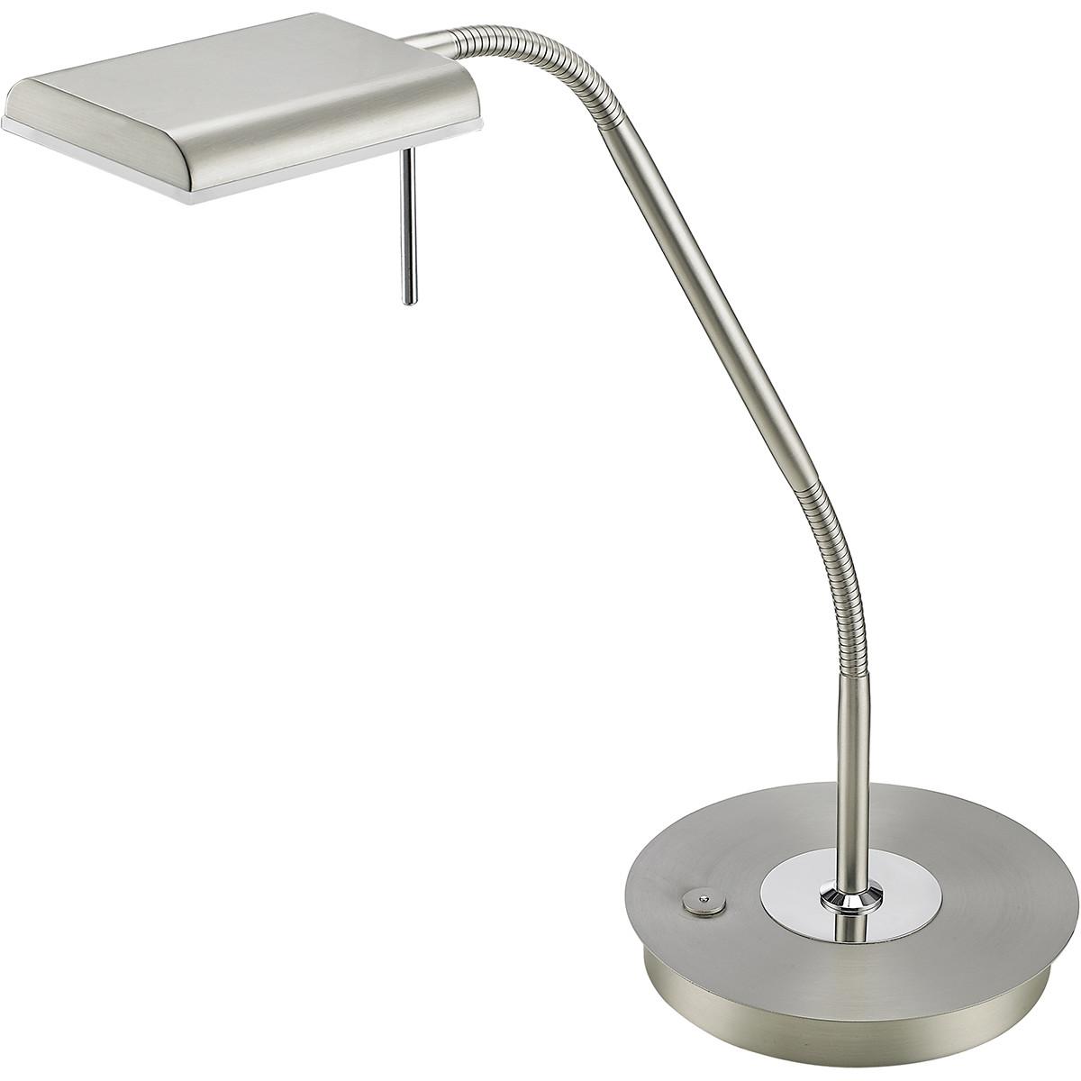 LED Tafellamp - Trion Bernaro - 12W - Warm Wit 3000K - Dimbaar - Rond - Mat Nikk