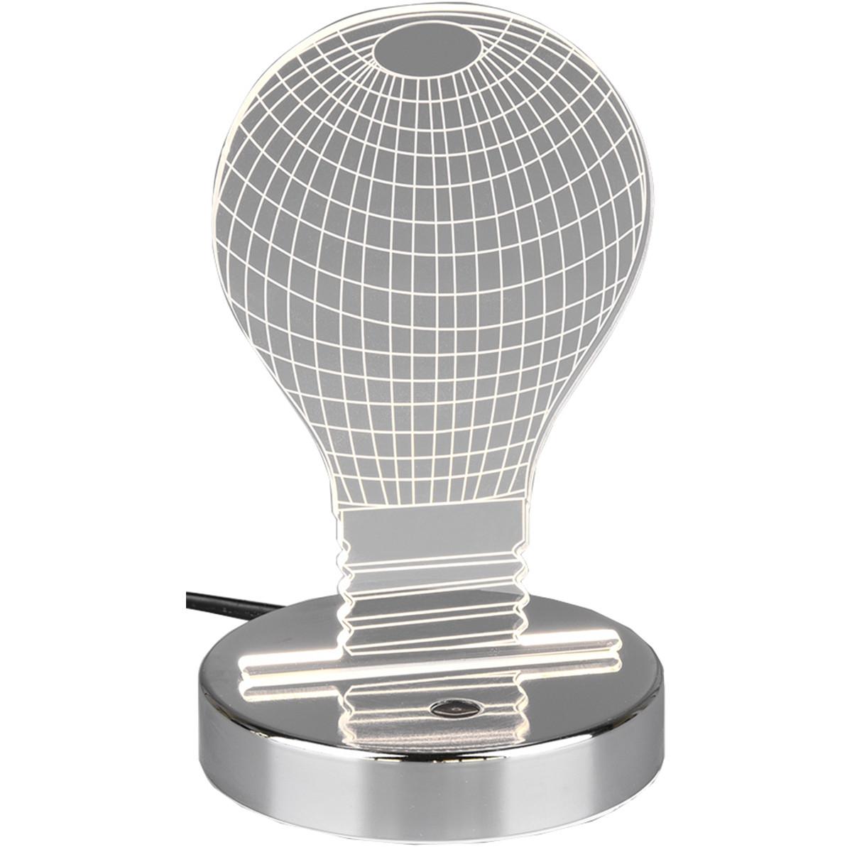 LED Tafellamp - Trion Bilo - 3W - RGBW - Rond - Glans Chroom - Aluminium