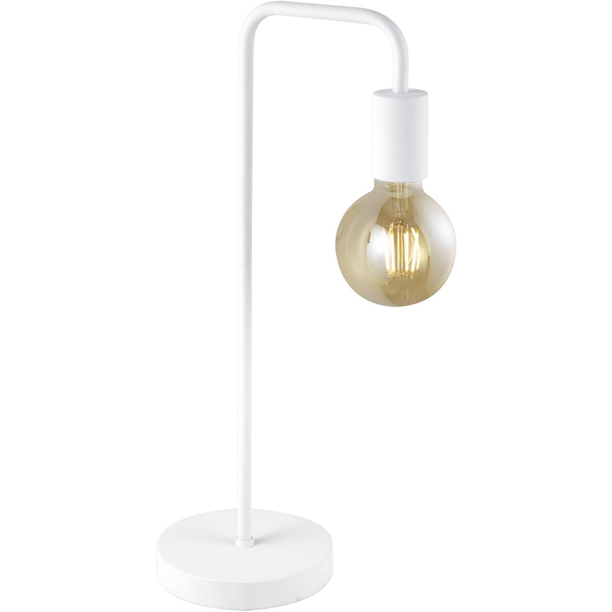 LED Tafellamp - Trion Dolla - E27 Fitting - Rond - Mat Wit - Aluminium
