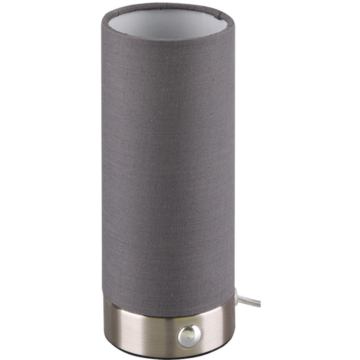 LED Tafellamp - Trion Emiron - 5W - Warm Wit 3000K - Dimbaar - Rond - Mat Nikkel/Grijs - Aluminium/T
