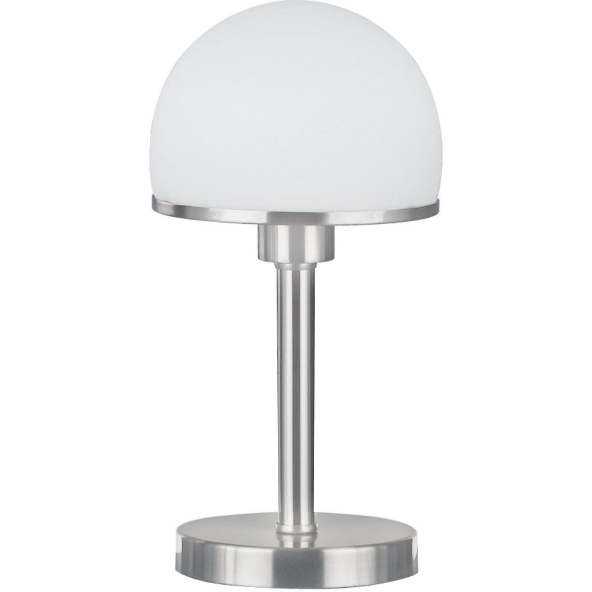 LED Tafellamp - Trion Josa - E27 Fitting - Dimbaar - Rond - Mat Nikkel - Aluminium