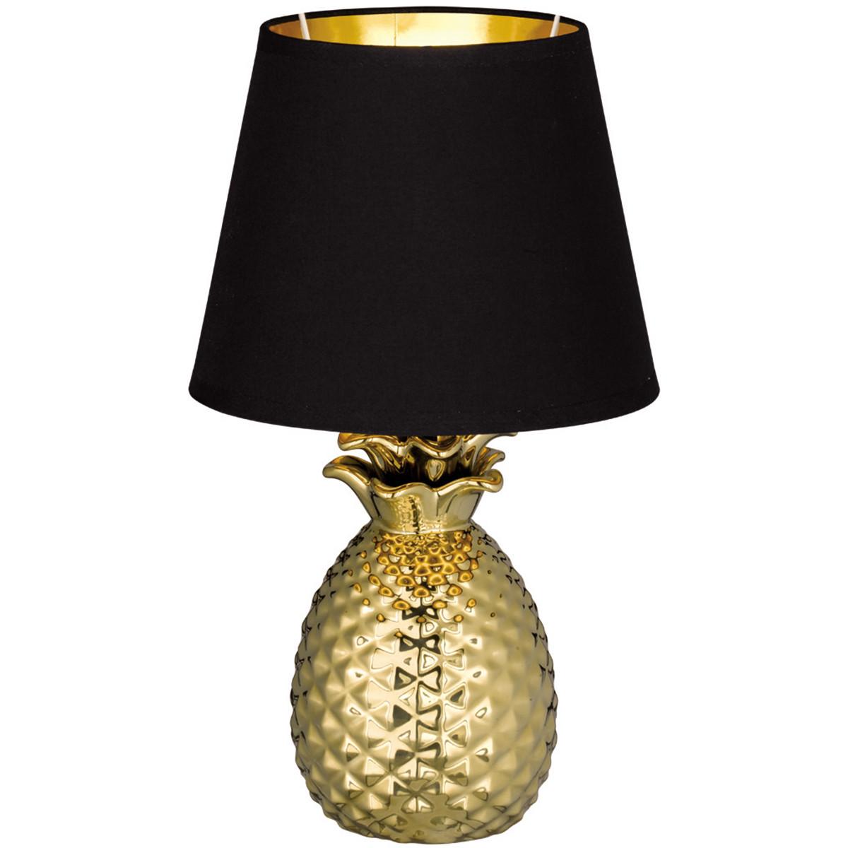 LED Tafellamp - Tafelverlichting - Trion Pinaply - E14 Fitting - Rond - Mat Goud - Keramiek