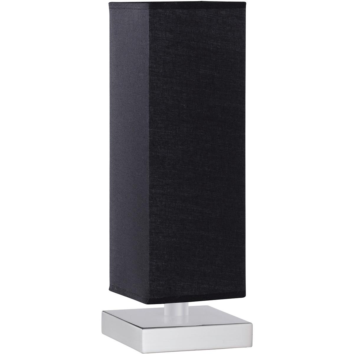 LED Tafellamp - Trion Piti - E14 Fitting - Dimbaar - Vierkant - Mat Nikkel/Zwart - Aluminium/Textiel