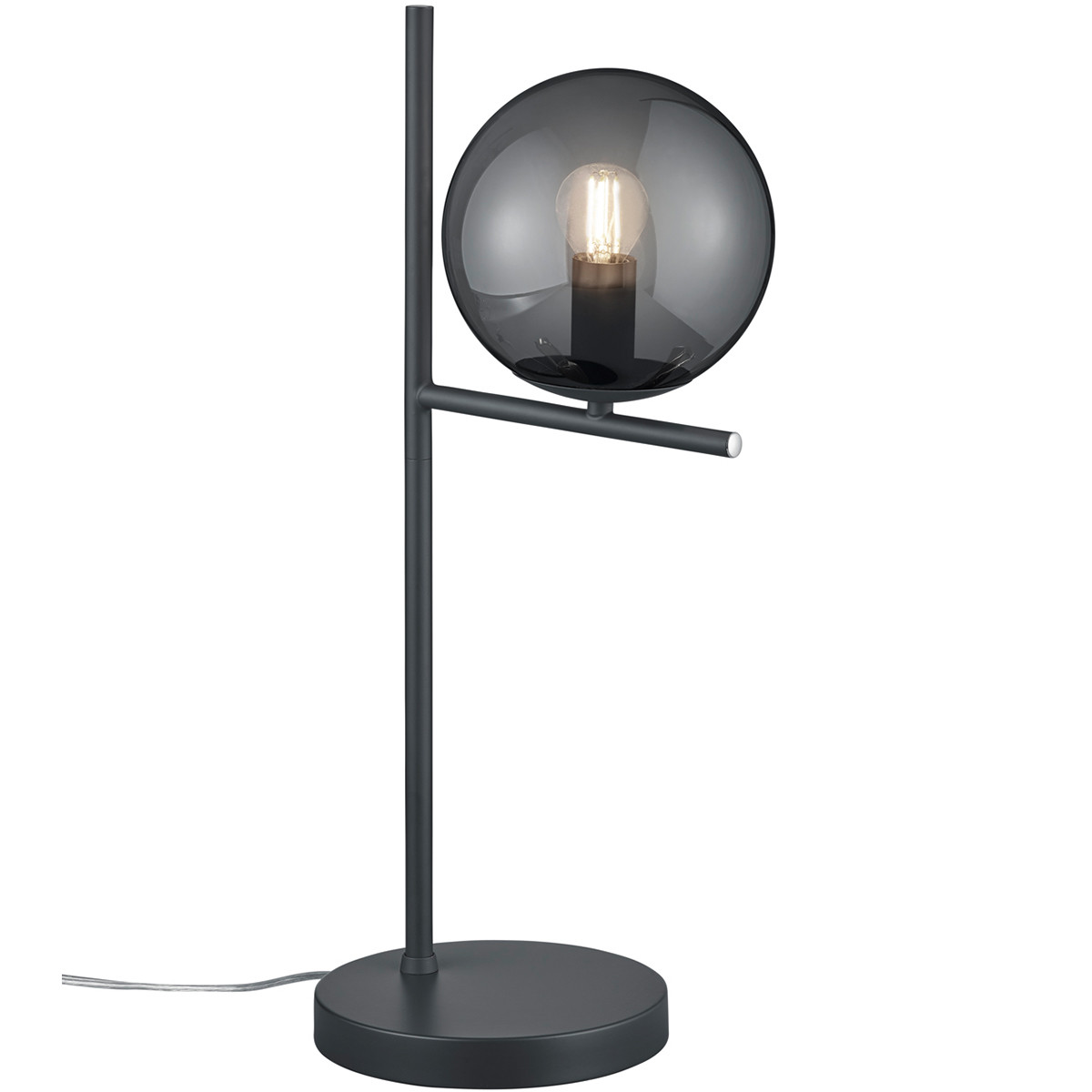 LED Tafellamp - Trion Pora - E14 Fitting - Rond - Mat Zwart Rookglas - Aluminium