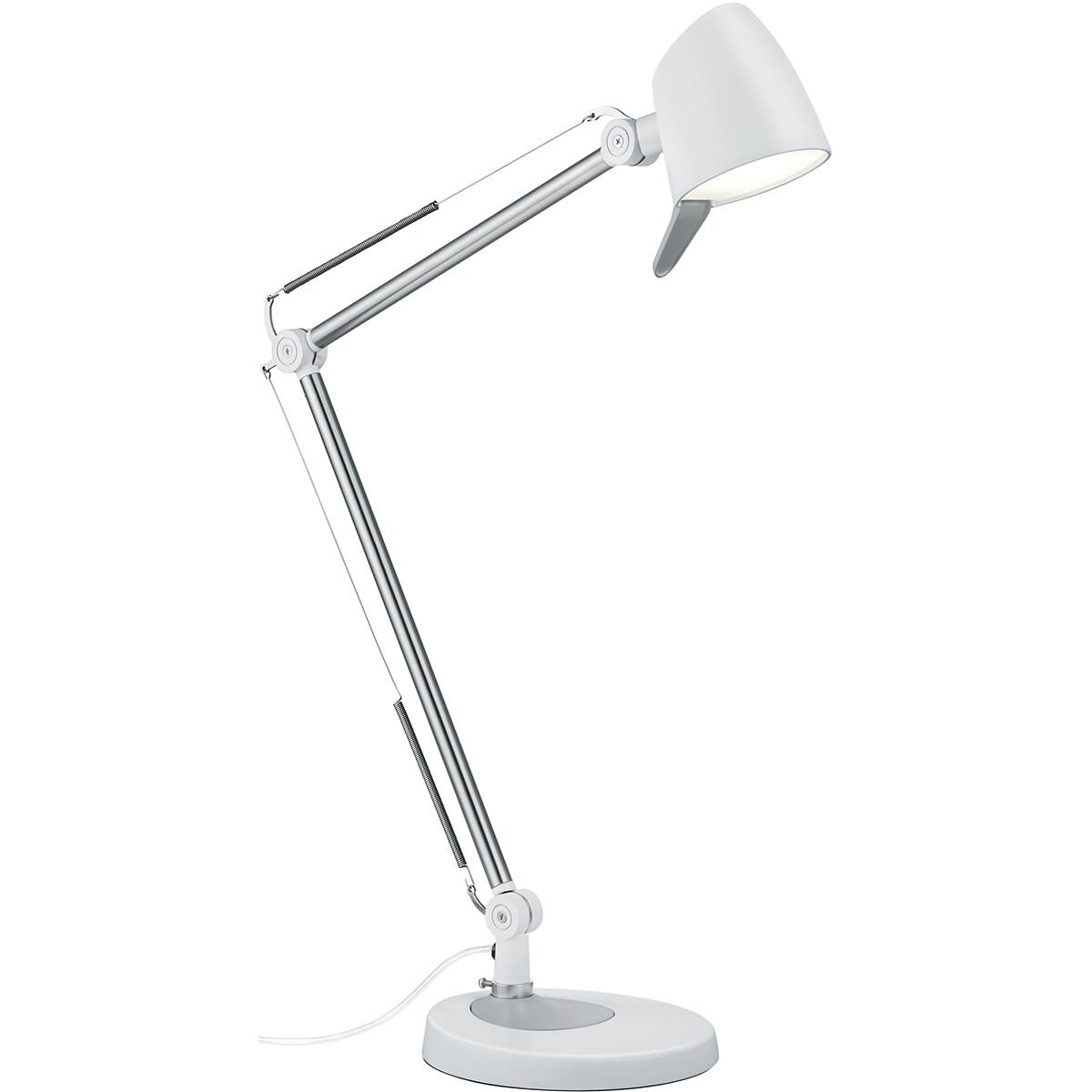 LED Tafellamp - Trion Radino - 5W - Aanpasbare Kleur - Dimbaar - Rond - Mat Wit - Aluminium