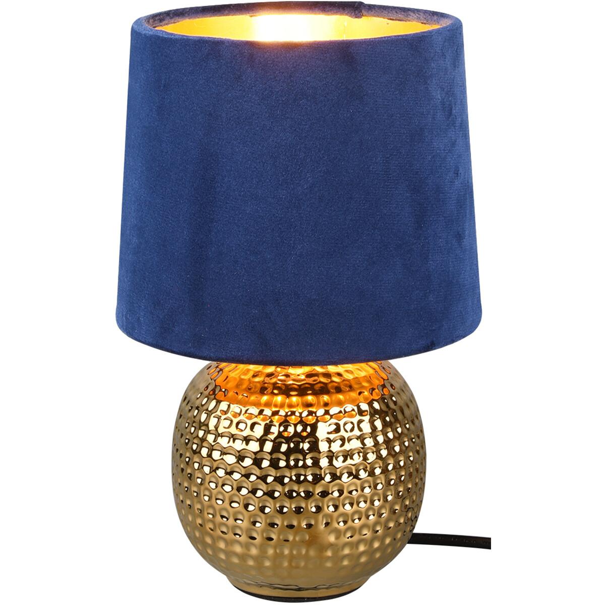 LED Tafellamp - Trion Sofia - E14 Fitting - Rond - Mat Blauw - Keramiek