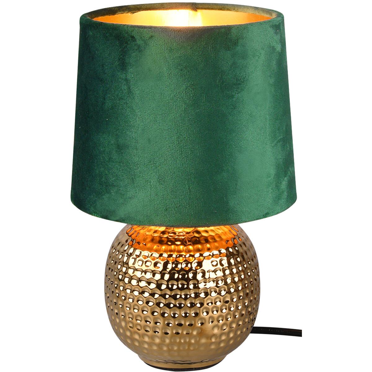 LED Tafellamp - Trion Sofia - E14 Fitting - Rond - Mat Groen - Keramiek