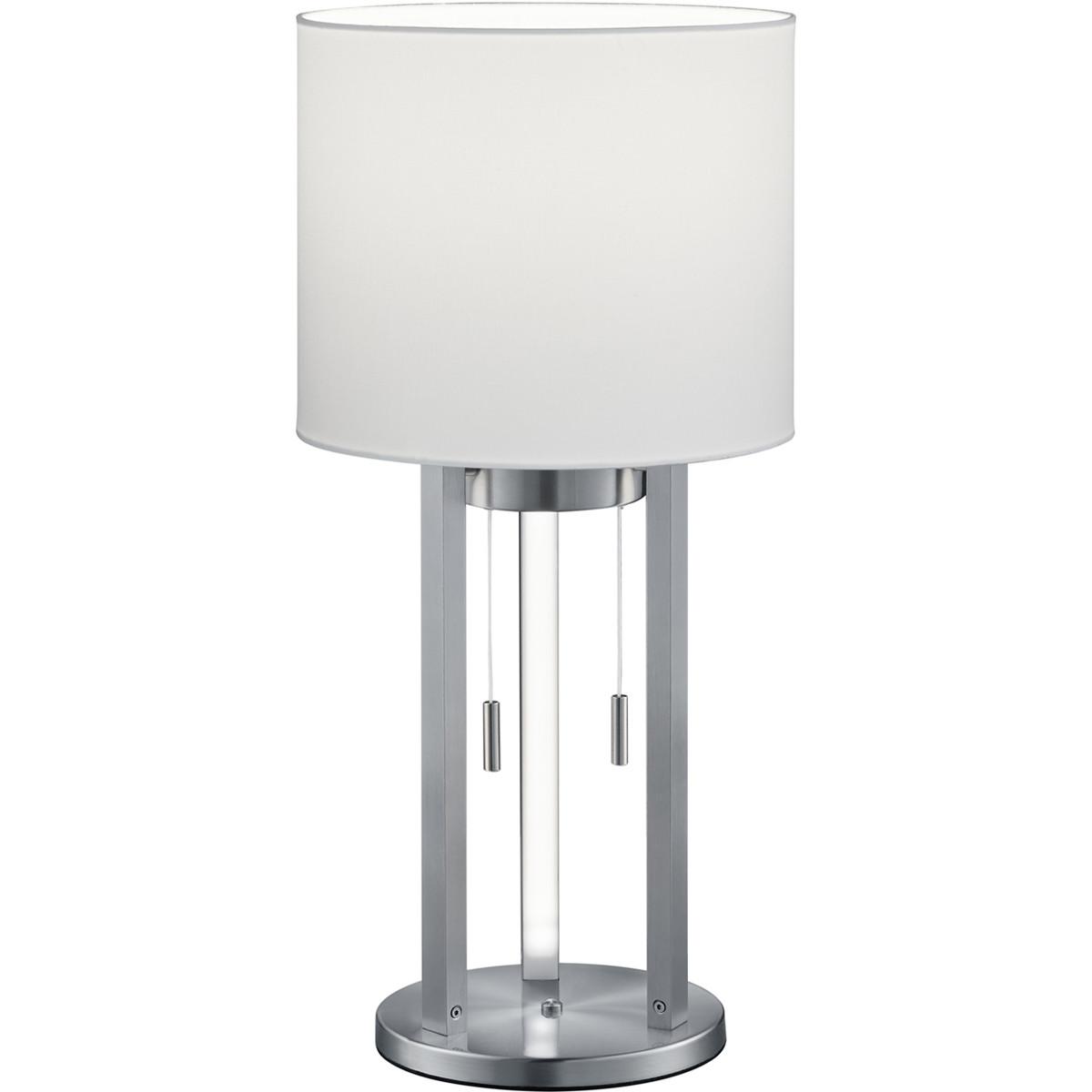 LED Tafellamp - Trion Tondira - 6W - Warm Wit 3000K - E27 Fitting - 4-lichts - Rond - Mat Nikkel - A