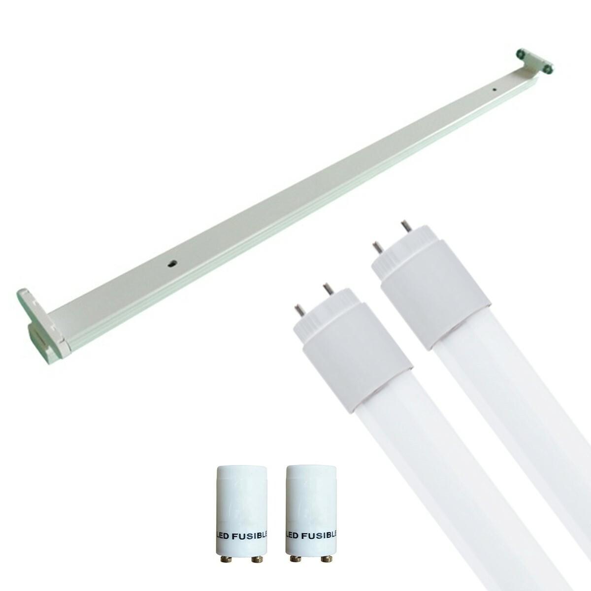 LED TL Armatuur met T8 Buis Incl. Starter - Aigi Dybolo - 120cm Dubbel - 32W - Natuurlijk Wit 4200K