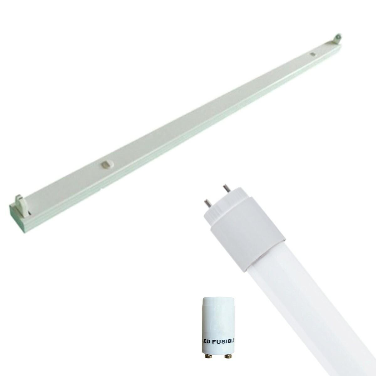 LED TL Armatuur met T8 Buis Incl. Starter - Aigi Dybolo - 120cm Enkel - 16W - Helder/Koud Wit 6400K