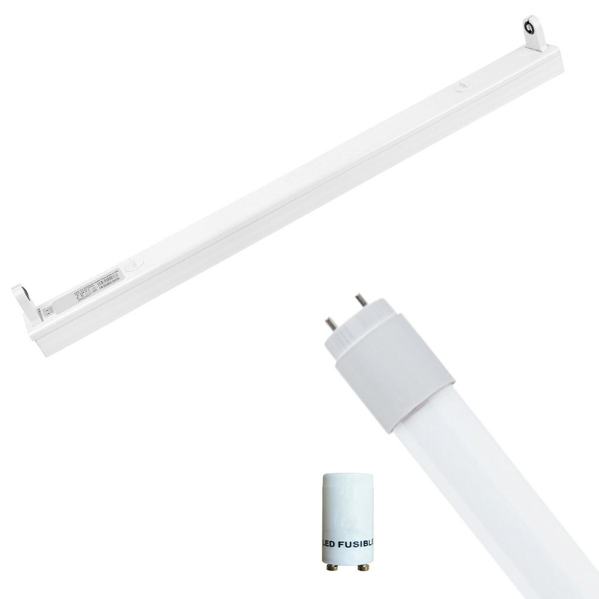 LED TL Armatuur met T8 Buis Incl. Starter - Aigi Dybolo - 60cm Enkel - 8W - Helder/Koud Wit 6400K -
