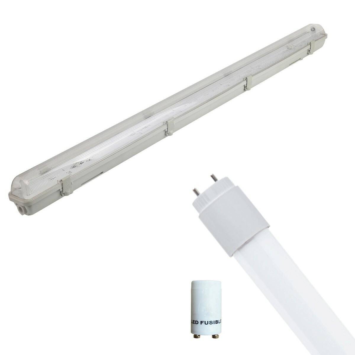 LED TL Armatuur met T8 Buis Incl. Starter - Aigi Hari - 150cm Enkel - 22W - Helder/Koud Wit 6400K - Waterdicht IP65