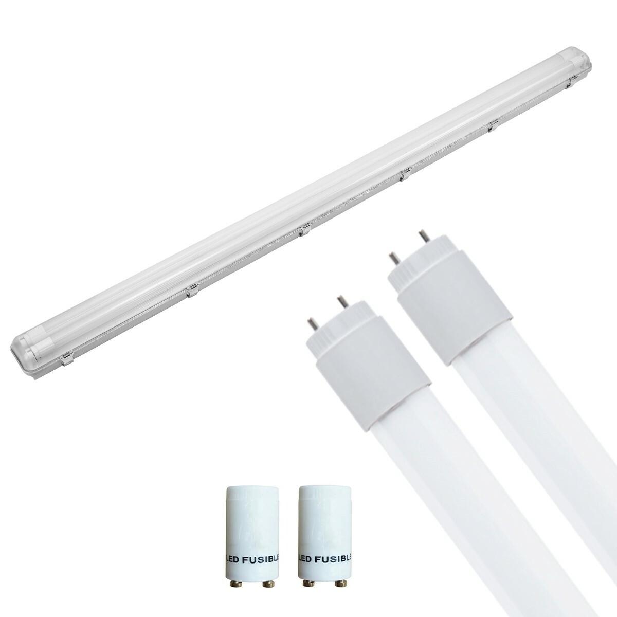 LED TL Armatuur met T8 Buis Incl. Starter - Pragmi Housing Pro - 150cm Dubbel - 44W - Natuurlijk Wit