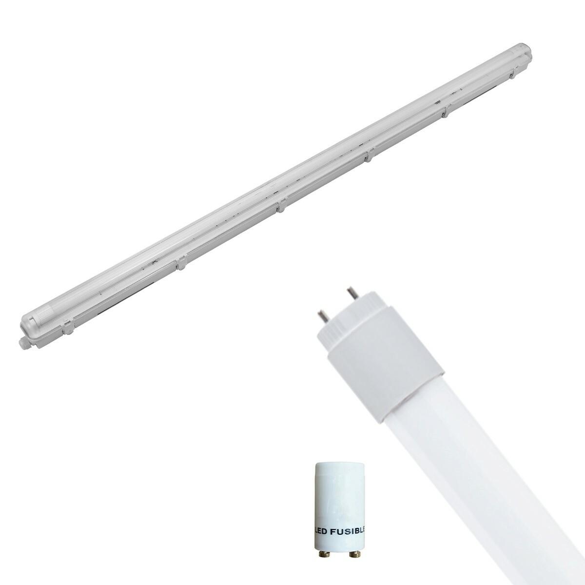 LED TL Armatuur met T8 Buis Incl. Starter - Pragmi Housing Pro - 150cm Enkel - 22W - Helder/Koud Wit