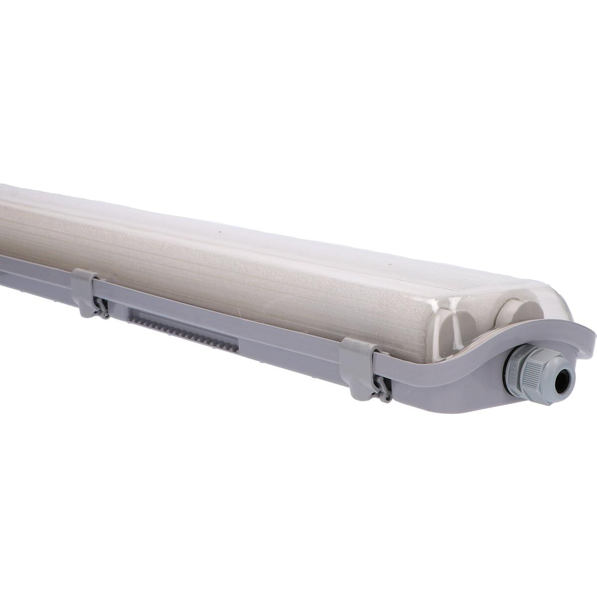 LED TL Armatuur met T8 Buizen - Sanola Yvor - 120cm Dubbel - 36W - Natuurlijk Wit 4000K - Mat Grijs