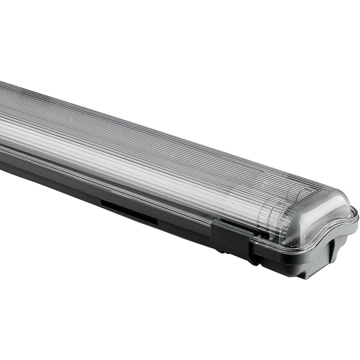 LED TL Armatuur met T8 Buizen - Viron Spasi - 120cm Dubbel - 36W - Helder/Koud Wit 6400K - Mat Grijs - Kunststof