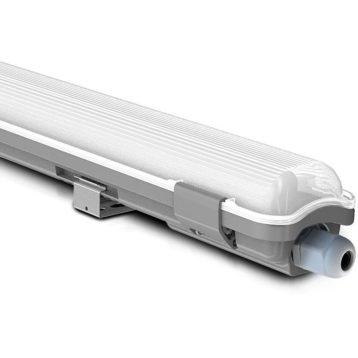LED TL Armatuur met T8 Buizen - Viron Truno - 60cm Dubbel - 20W - Helder/Koud Wit 6400K - Mat Wit - Kunststof