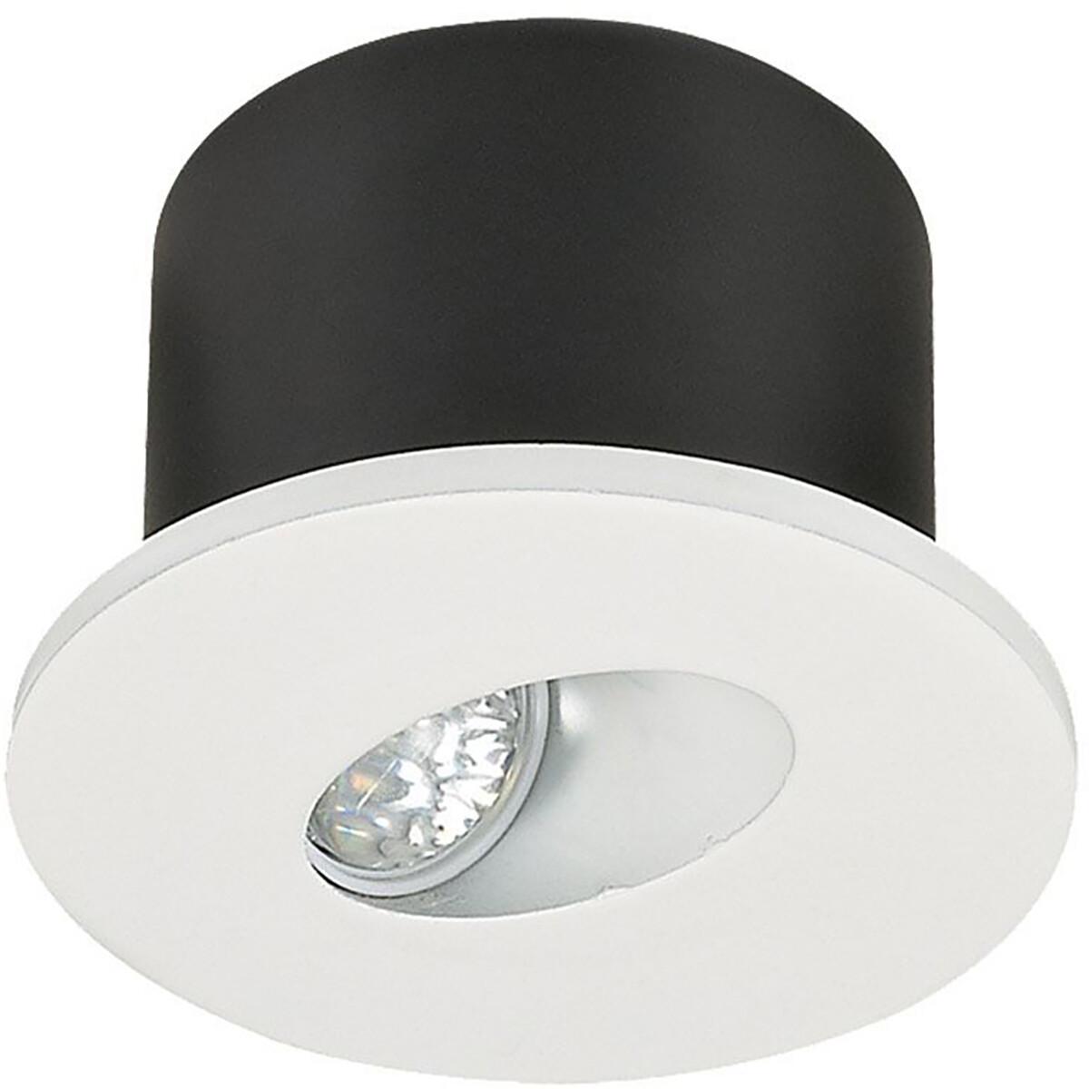 LED Trapspot - Viron Aspo - Inbouw Rond 3W - Warm Wit 3000K - Mat Wit - Aluminium - 80mm