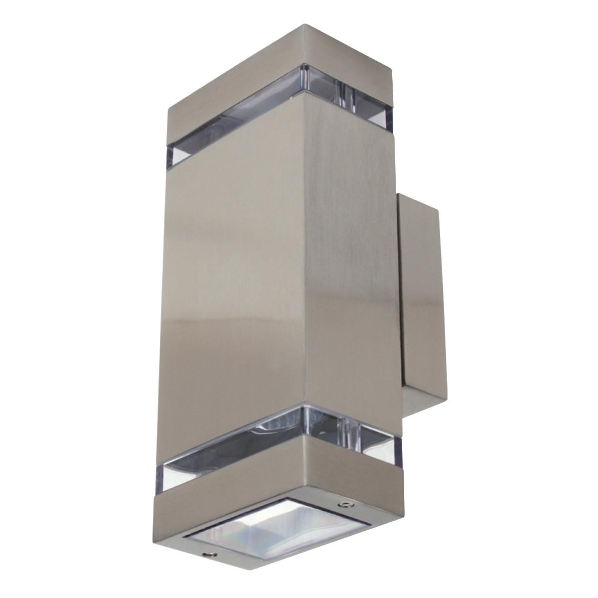 LED Tuinverlichting - Buitenlamp - Gardy 2 - Wand - RVS Mat Chroom - GU10 - Vierkant