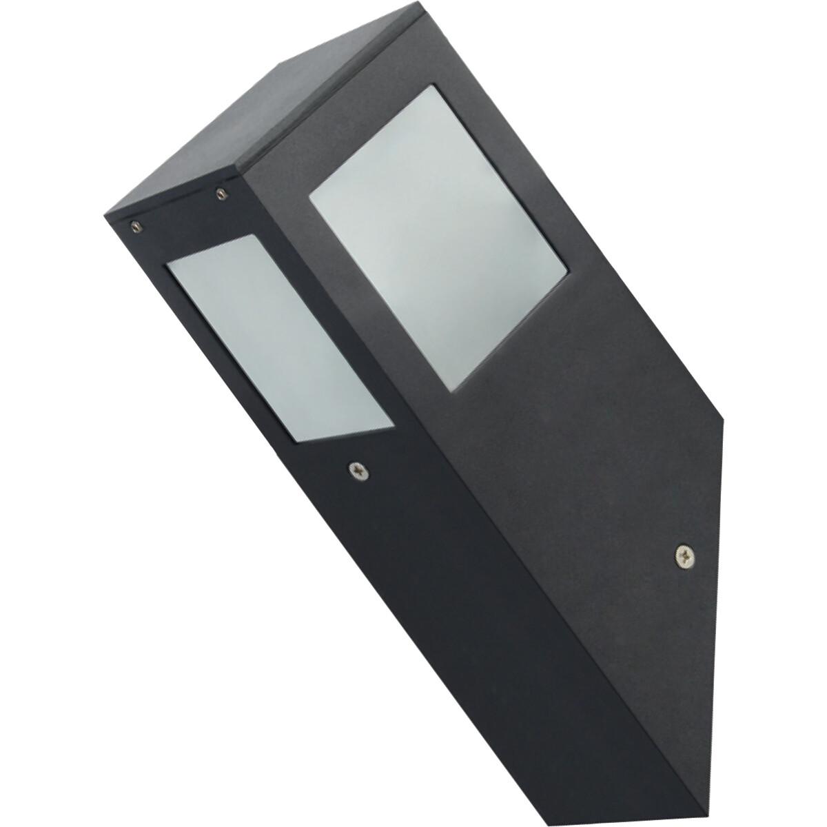 LED Tuinverlichting - Buitenlamp - Kavy 1 - Wand - Aluminium Mat Zwart - E27 - Vierkant