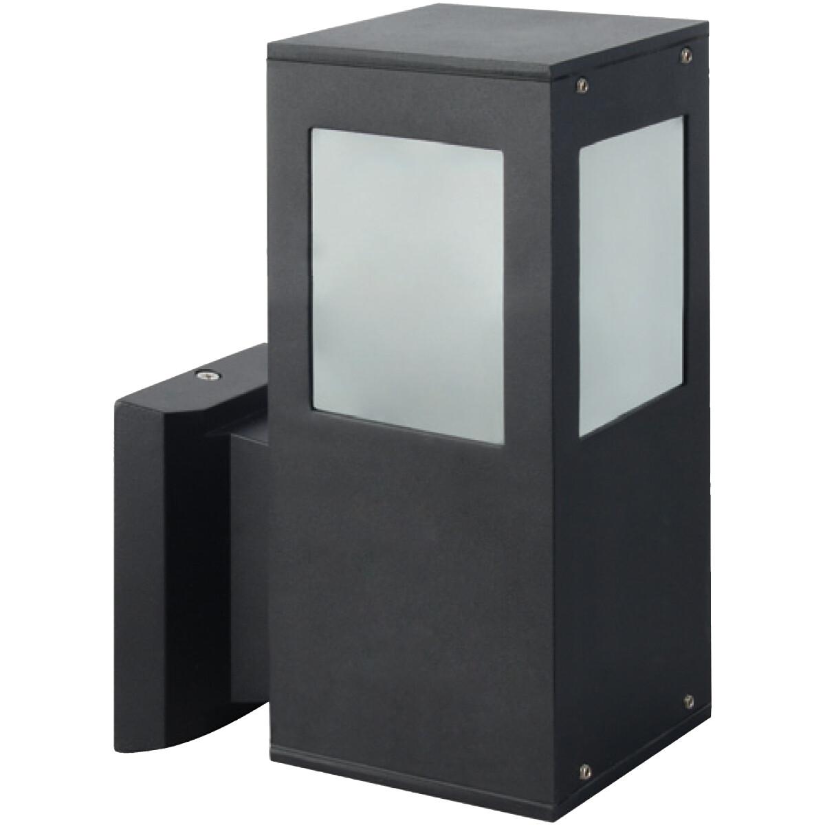 LED Tuinverlichting - Buitenlamp - Kavy 2 - Wand - Aluminium Mat Zwart - E27 - Vierkant