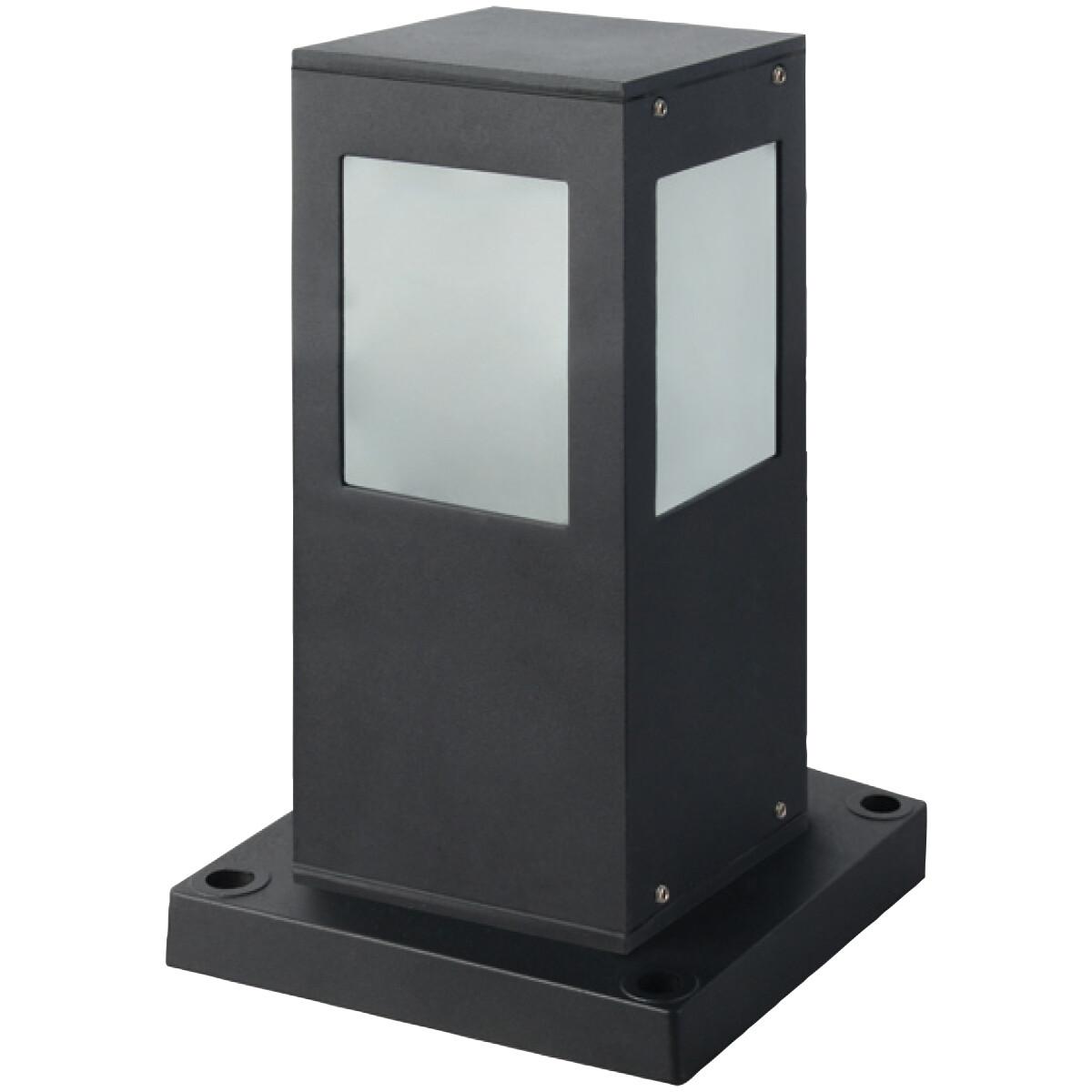 LED Tuinverlichting - Buitenlamp - Kavy 3 - Staand - Aluminium Mat Zwart - E27 - Vierkant