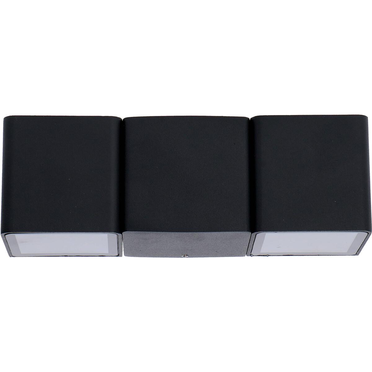 LED Tuinverlichting - Buitenlamp - Sanola Hiptro - 6W - Warm Wit 2700K - Rond - Mat Zwart - Aluminium