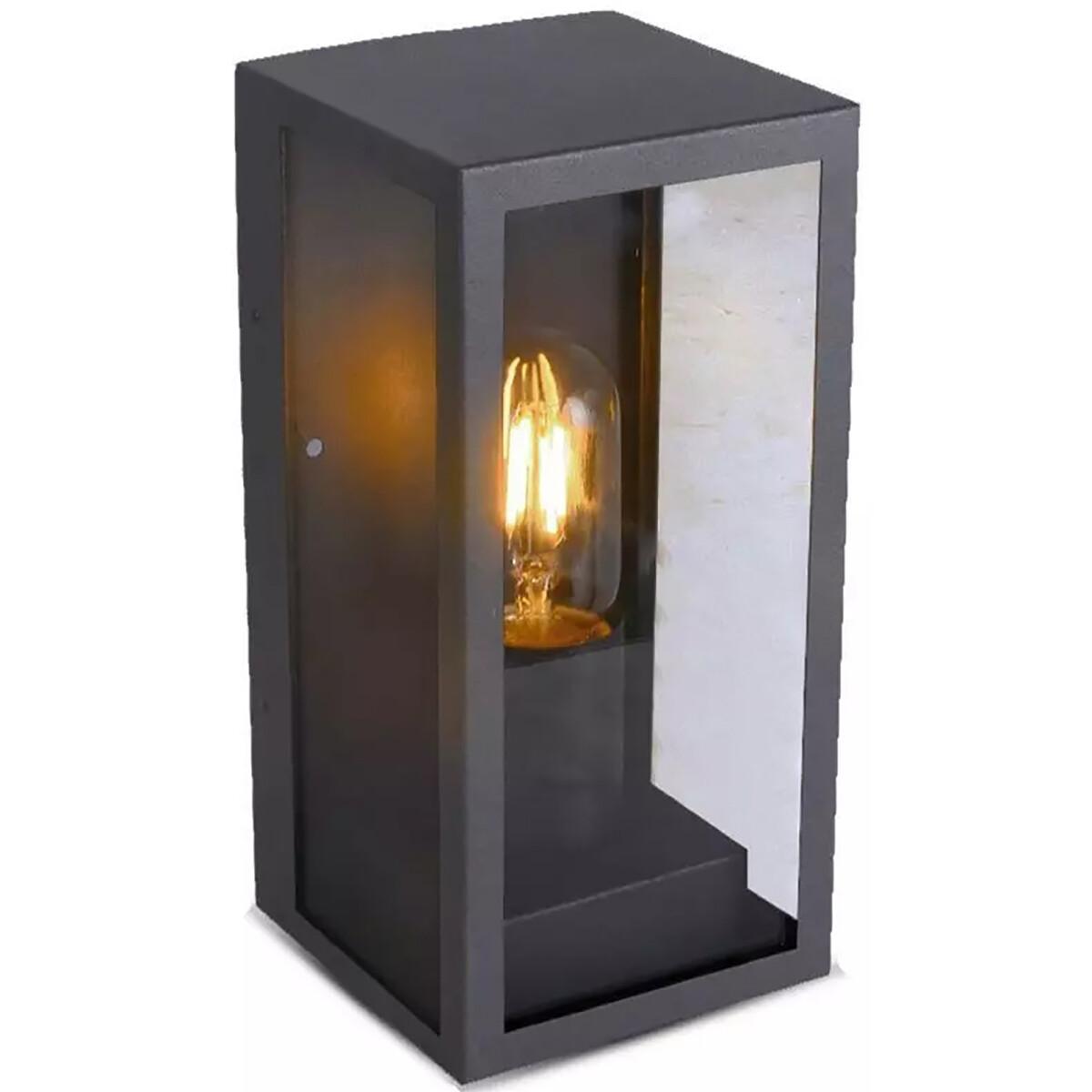 LED Tuinverlichting - Buitenlamp - Viron Bivy - Wand - E27 Fitting - Rond - Mat Zwart - Aluminium