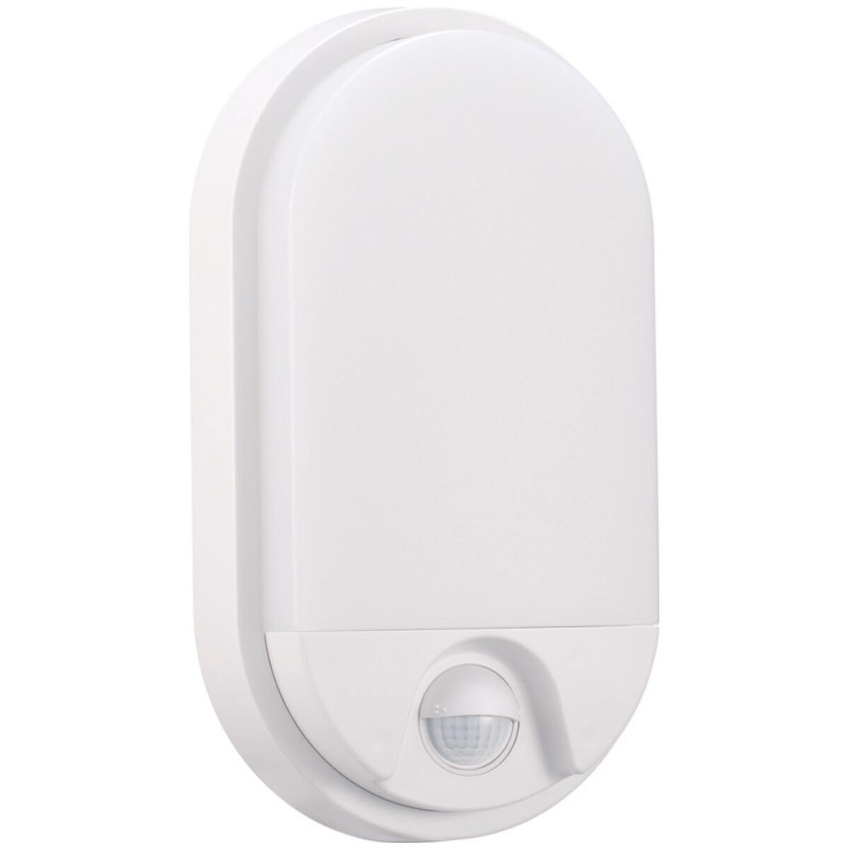LED Tuinverlichting met Bewegingssensor - Hoktan - Wandlamp Buiten - 10W - Natuurlijk Wit 4200K - Mat Wit - Ovaal