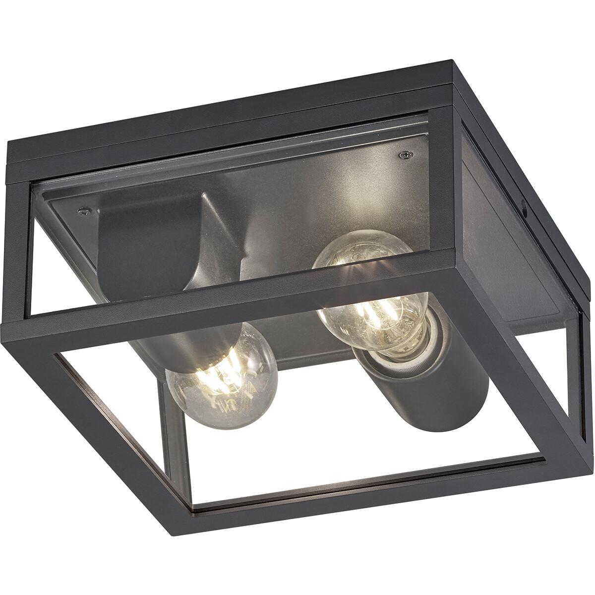 LED Tuinverlichting - Tuinlamp Plafond - Trion Garinola - E27 Fitting - 2-lichts - Mat Zwart - Alumi