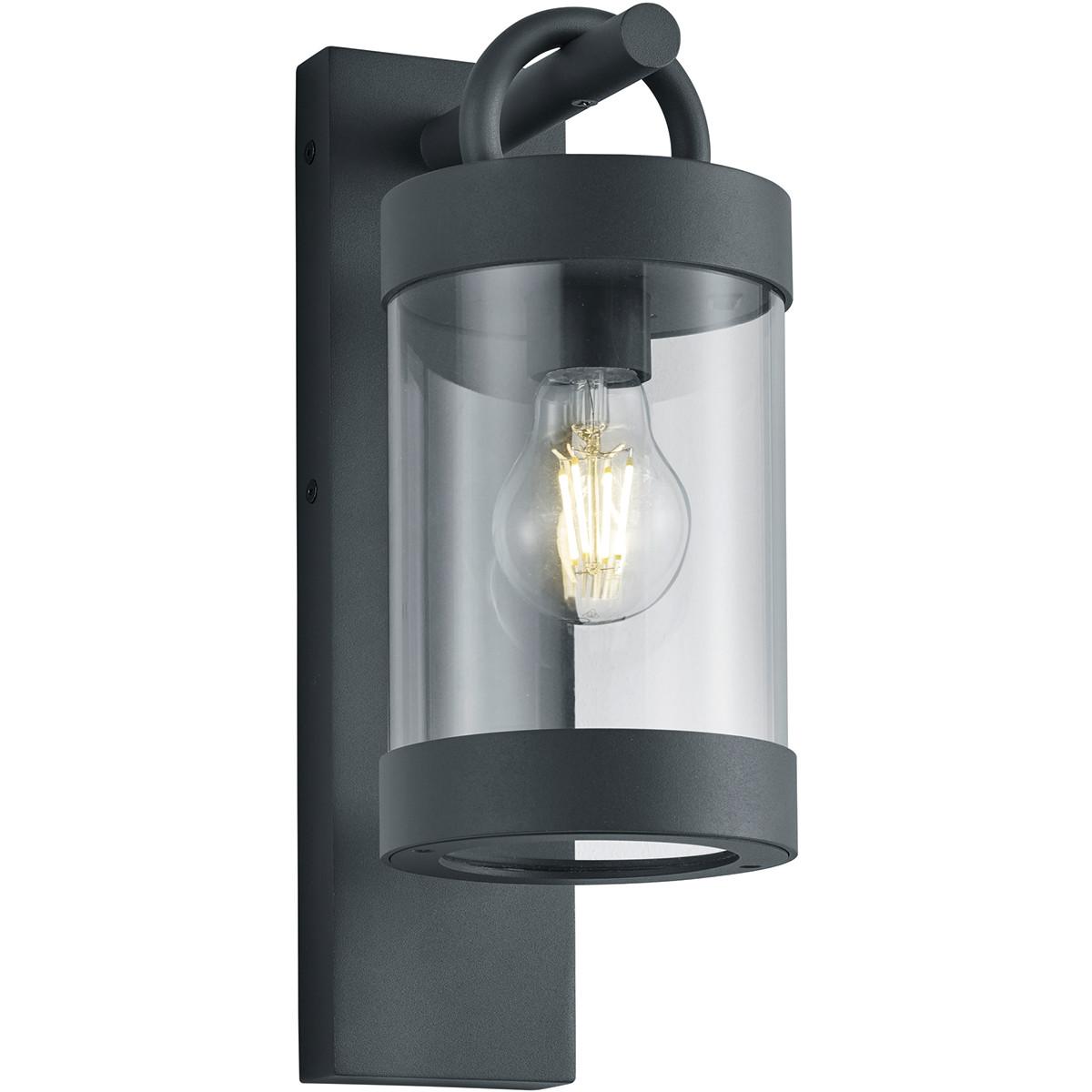 LED Tuinverlichting - Tuinlamp - Trion Semby - Wand - Lichtsensor - E27 Fitting - Mat Zwart - Alumin