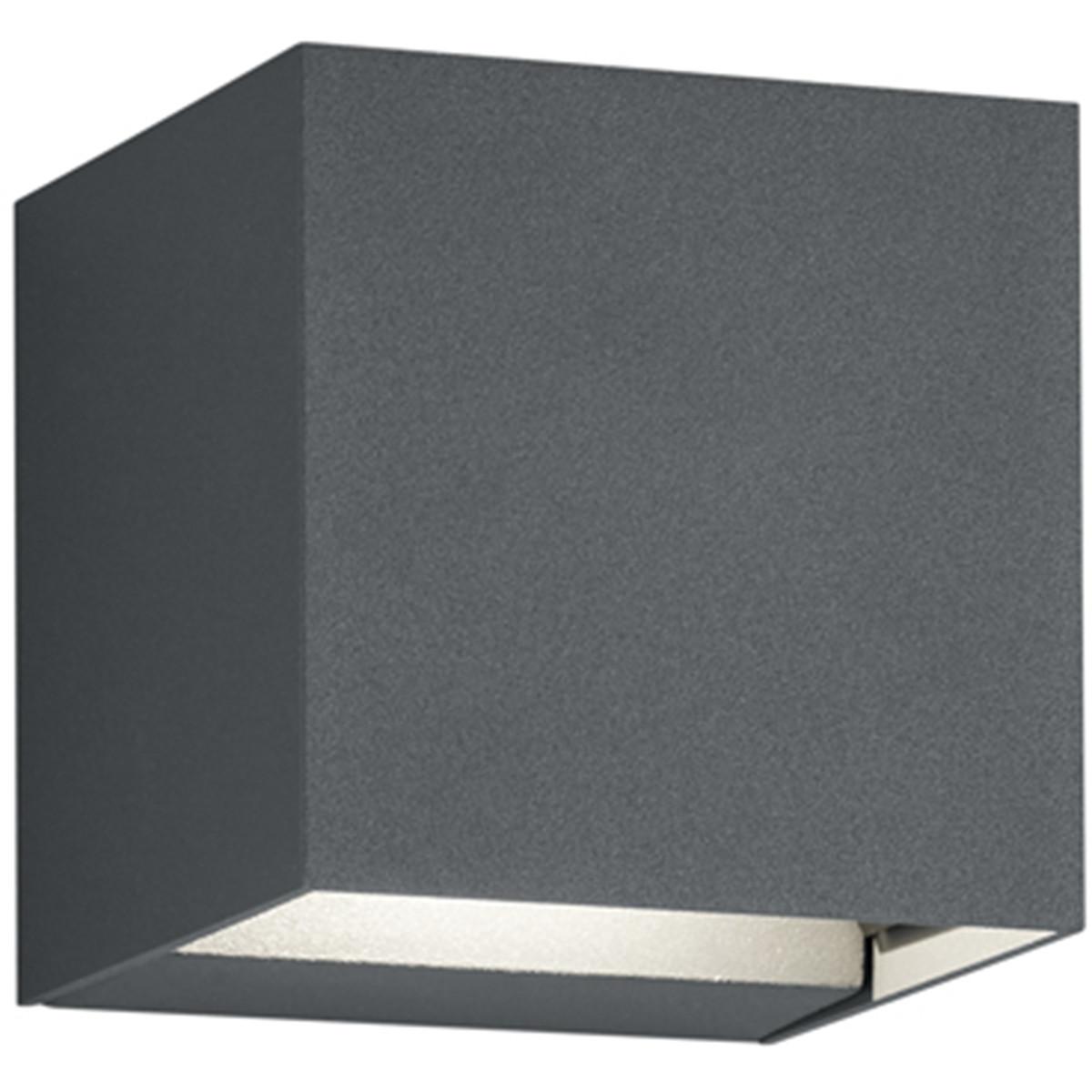 LED Tuinverlichting - Tuinlamp - Trion Adina - Wand - 6W - Warm Wit 3000K - Vierkant - Mat Zwart - A