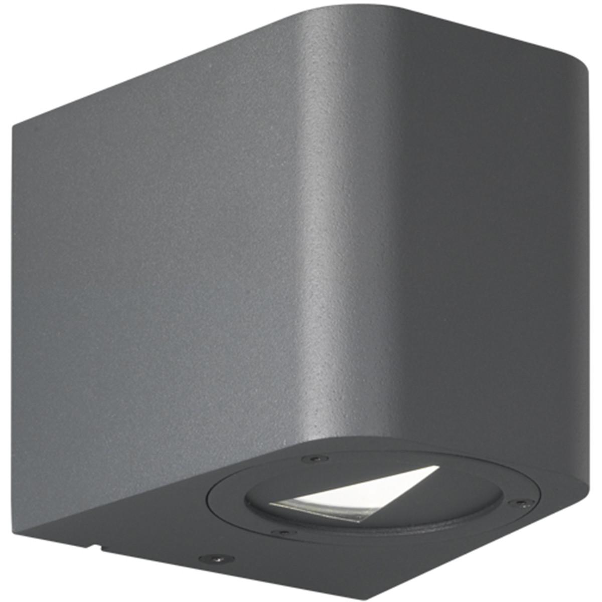 LED Tuinverlichting - Tuinlamp - Trion Bigoti - Wand - 6W - Mat Zwart - Aluminium